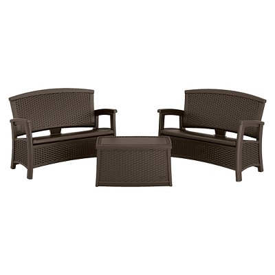 Suncast ELEMENTS™ 3 Piece Resin Patio Set With Storage