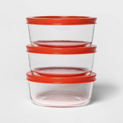 2 Cup 3pk Round Food Storage Container Set Red - Room Essentials™