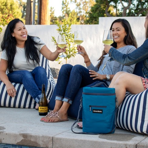 7969ab1ed029 CleverMade Wine Cooler with Insulated Cold Pack, Wine Opener and Shoulder  Strap - Blue/Charcoal