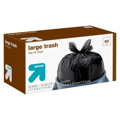Large Flap-Tie Trash Bags - 30 Gallon - 60ct - Up&Up™