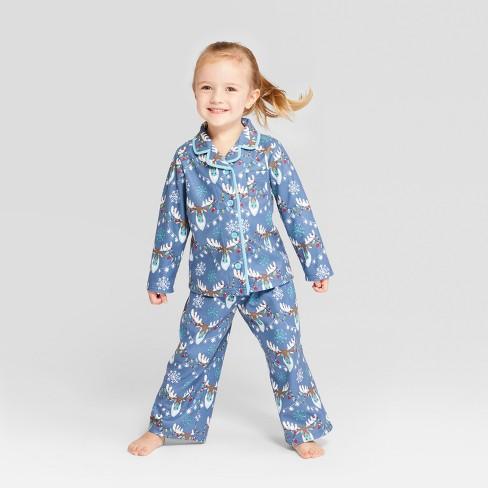 Nite Nite Munki Munki Toddler Holiday Moose Notch Collar Pajama Set - Blue e28778343
