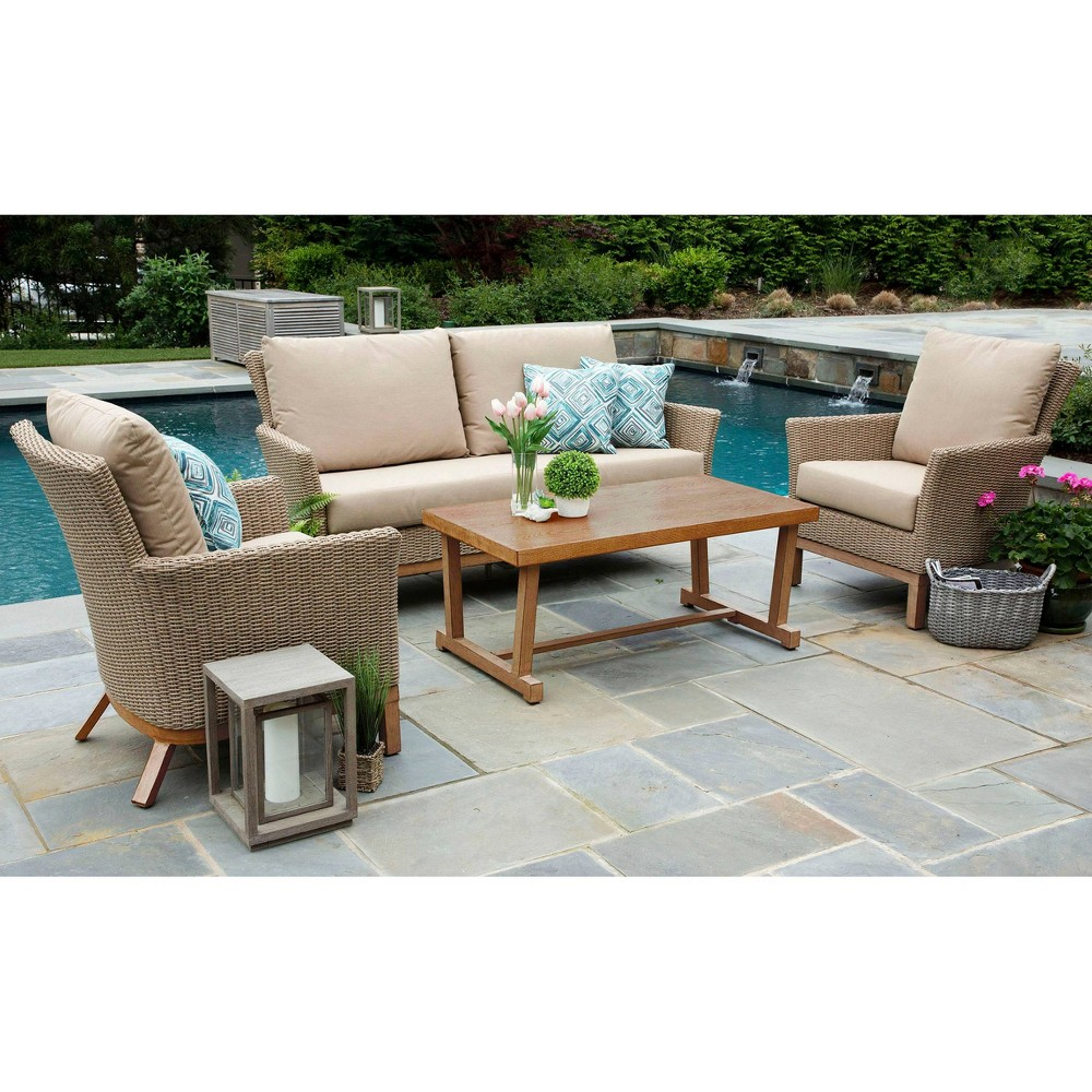 Image of Cottonwood 4pc Sunbrella Deep Seating Set Tan - Canopy Home and Garden