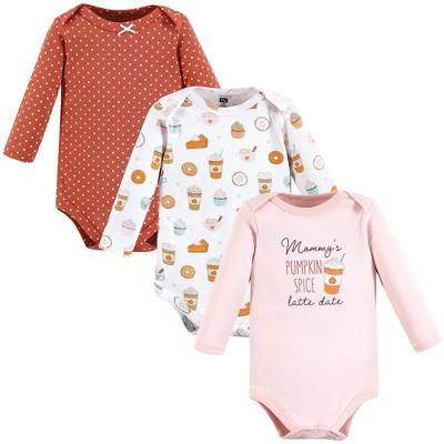 Hudson Baby Infant Girl Cotton Long-Sleeve Bodysuits, Pumpkin Spice Date 3-Pack