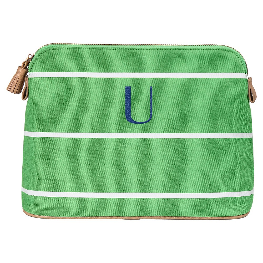 Personalized Green Striped Cosmetic Bag - U