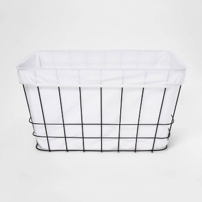Metal Wire Rectangular Basket with Fabric - Room Essentials™