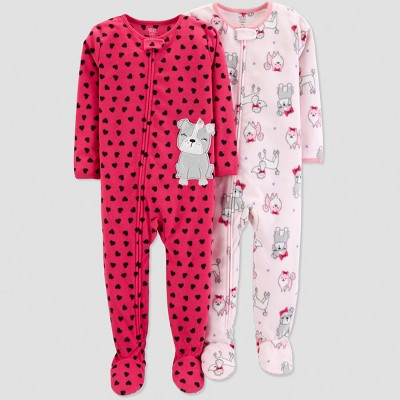 Baby Girls' Fleece Heart Dogs Pajama Set - Just One You® made by carter's Pink 12M
