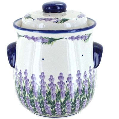Blue Rose Polish Pottery Lavender Fields Cookie Jar