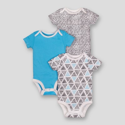 Lamaze Baby Boys' Organic Geometric Print 3pk Bodysuits - Blue Newborn