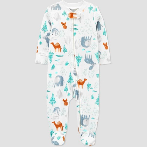 Baby Boys' Organic Cotton Forest Animals Sleep N' Play - little planet organic by carter's White - image 1 of 2