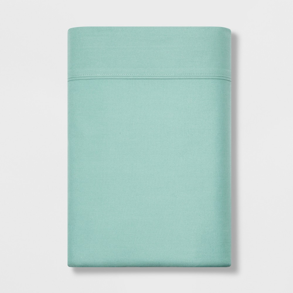 Image of Full 300 Thread Count Ultra Soft Flat Sheet Aqua - Threshold , Blue