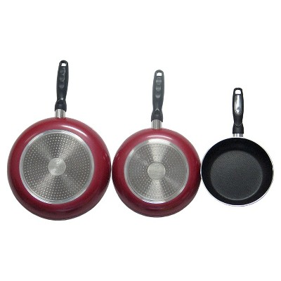 Gourmet Chef 8 Inch Non Stick Fry Pan with Induction Base - Red