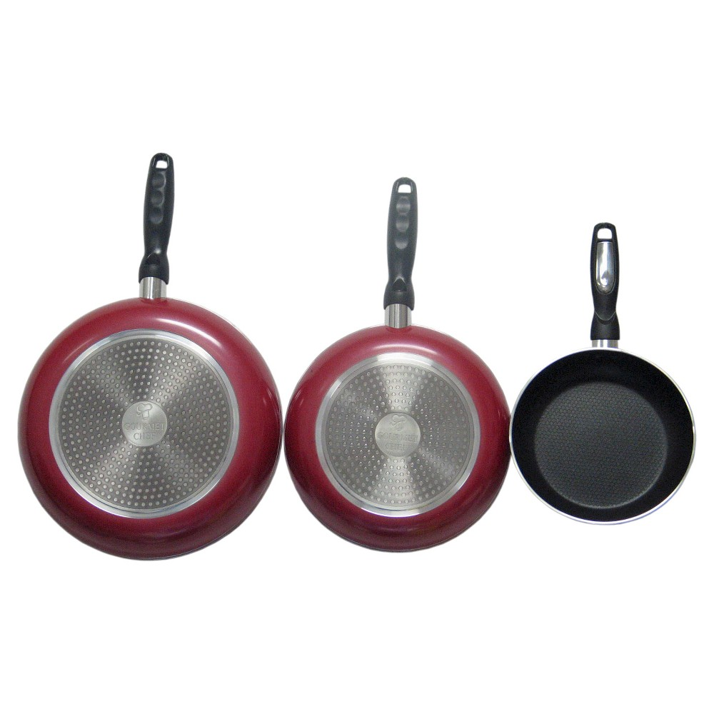 Image of Gourmet Chef 12 Inch Non Stick Fry Pan with Induction Base - Red