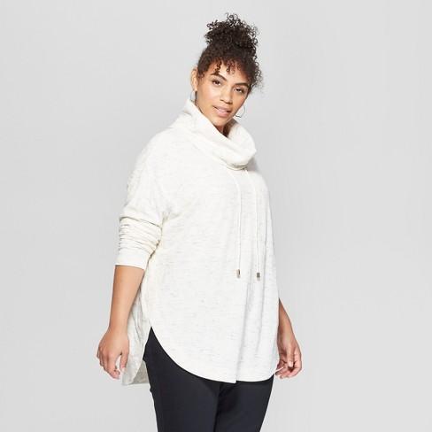 6ade9b27540 Women s Plus Size Cowl Neck Tunic - Ava   Viv™ Ivory   Target