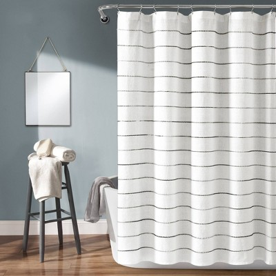Ombre Striped Yarn Dyed Cotton Shower Curtain White/Gray - Lush Décor