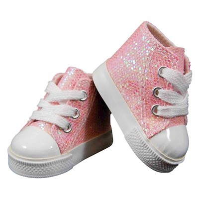 The Queen's Treasures 18 Inch Doll Clothes Accessory, Pink Sparkle Sneaker Plus Authentic Shoe Box