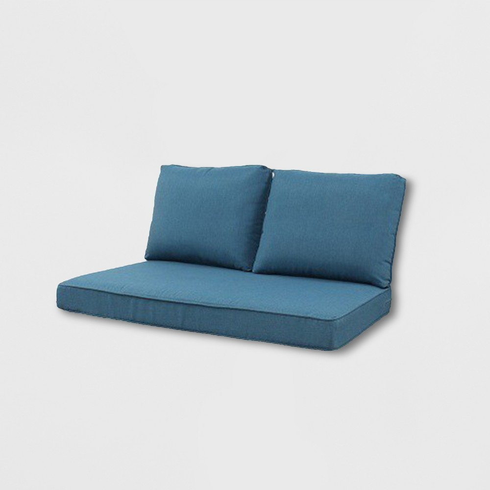 Rolston 3pc Outdoor Loveseat Cushions Blue - Grand Basket