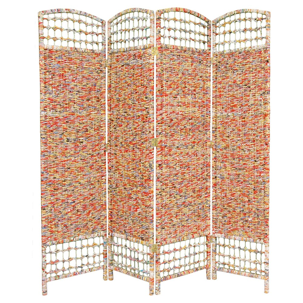 5 1/2 ft. Tall Recycled Magazine Room Divider 3 Panels - Oriental Furniture, Multi-Colored