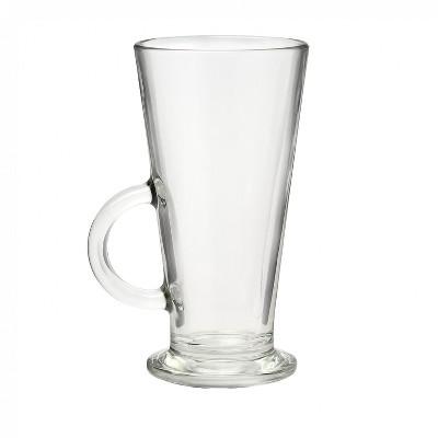 Amici Home Italian Conic Glass Coffee Mug, 8oz, Set of 4