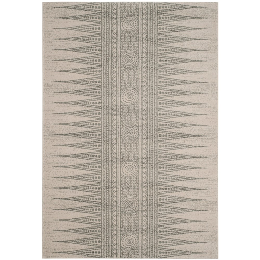 6'7X9' Tribal Design Loomed Area Rug Ivory/Silver - Safavieh