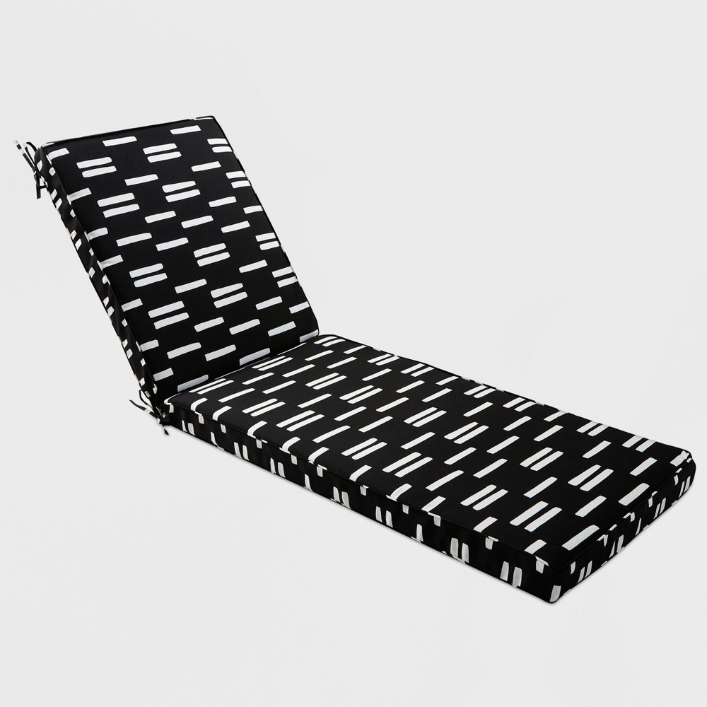 Spaced Stripe Outdoor Chaise Cushion Black - Project 62