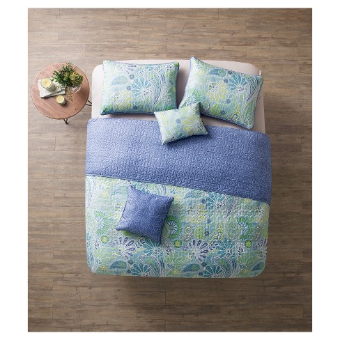 Blue Reversible Harmony Quilt Set - VCNY® - image 1 of 4