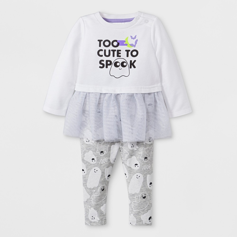 Baby Girls' 2pc Too Cute to Spook Tunic & Leggings Set - Cat & Jack White 3-6M