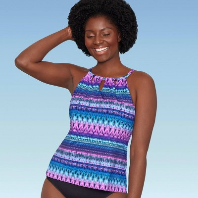 Women's Slimming Control High Neck Cut Out Tankini Top - Dreamsuit by Miracle Brands