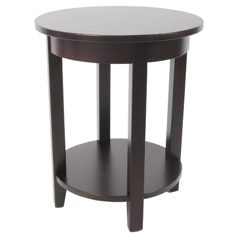 Round Accent Table Hardwood Espresso - Alaterre Furniture - image 1 of 4