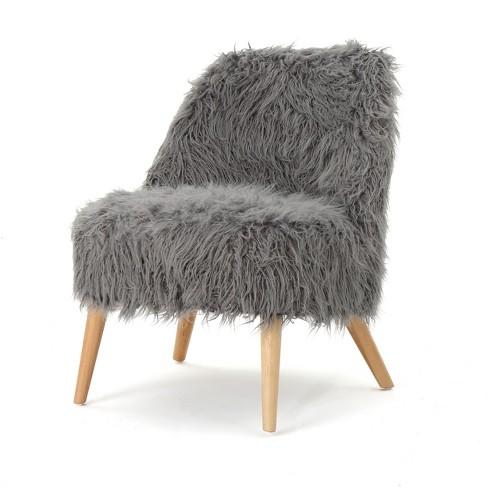 Pleasing Cheryiie Faux Fur Accent Chair Gray Christopher Knight Home Machost Co Dining Chair Design Ideas Machostcouk