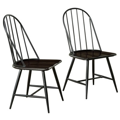 Set of 2 Milo Mixed Media Wood Top Chairs Metal/Black - Buylateral