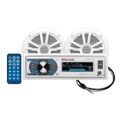 BOSS Audio Marine 180 Watt 2 Pack 6.5 Inch Speakers, AM/FM Bluetooth Receiver, and Antenna Audio Package with Wireless Remote Control