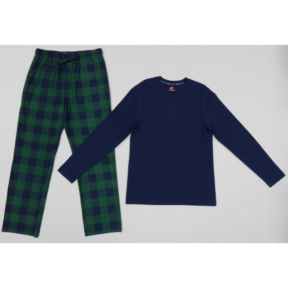 Hanes Men 39 S Long Sleeve Lounge Pajama Set Navy 2xl