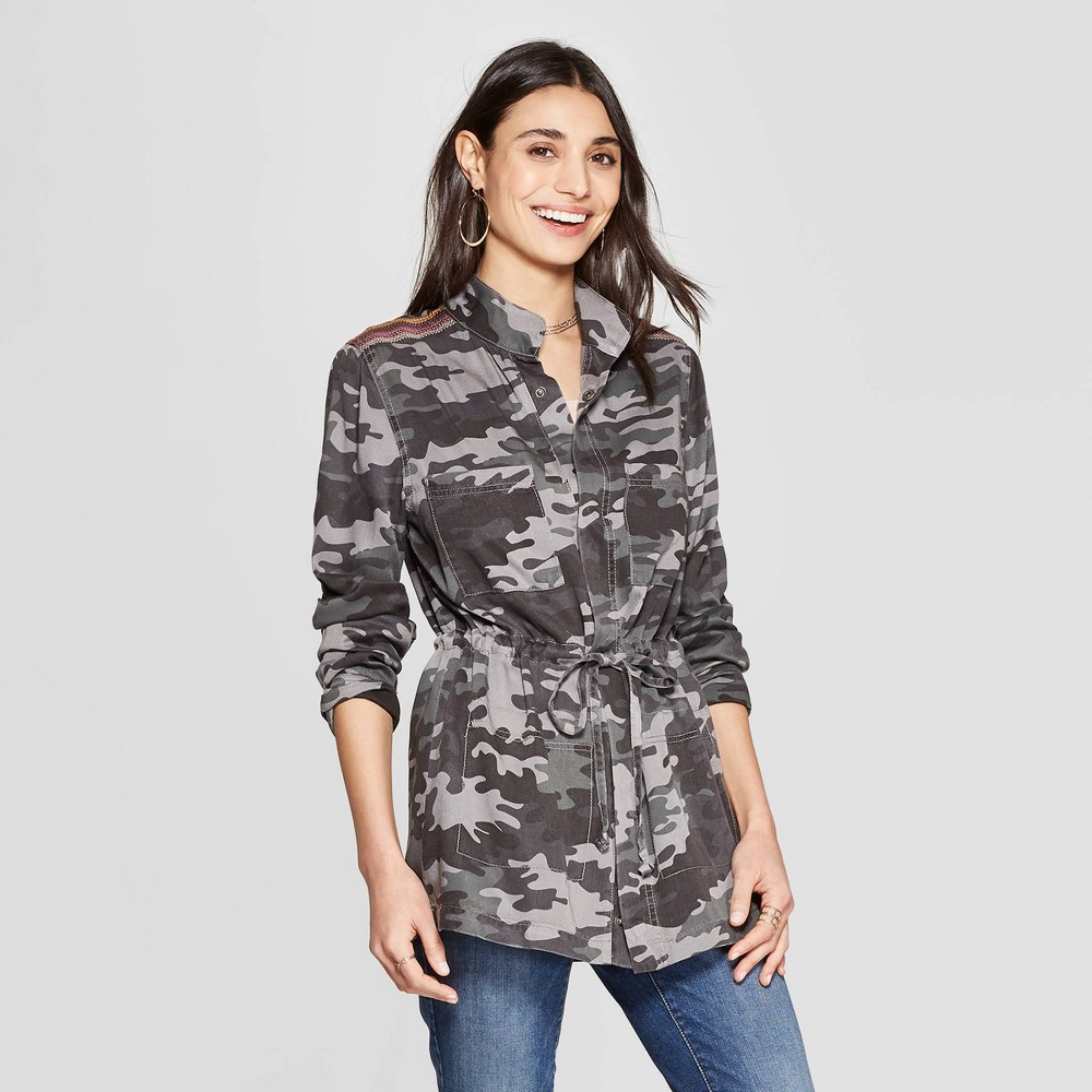 Women's Camo Print Long Sleeve Jacket - Knox Rose Gray L