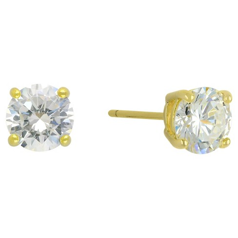 Cubic Zirconia Round Stud Earrings with 14k Gold Plating in Sterling Silver - Gold - image 1 of 1