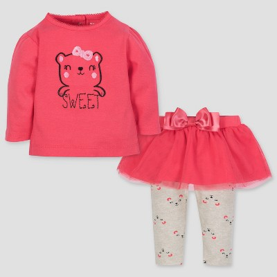 Gerber Baby Girls' 2pc Long Sleeve Bunny Top and Tutu Leggings - Coral/Gray 3-6M