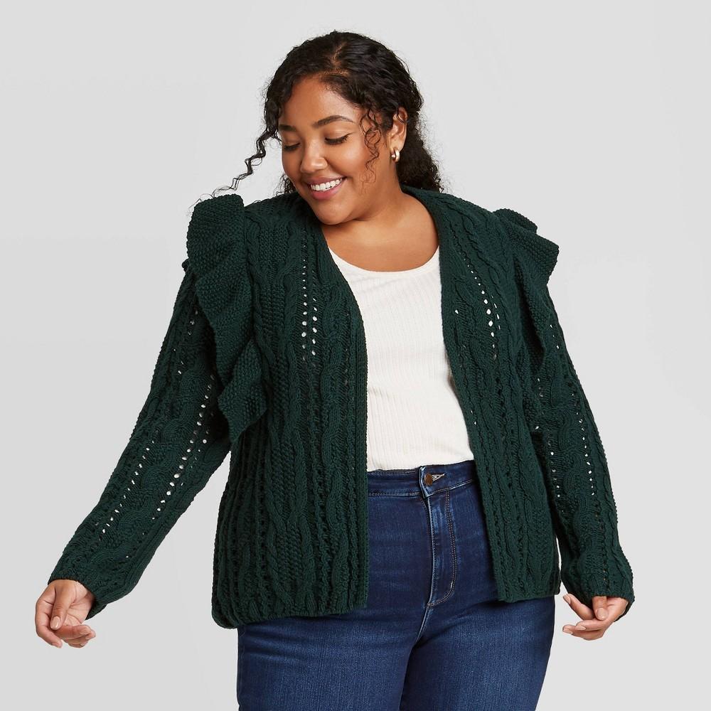 Women 39 S Plus Size Ruffle Cardigan Universal Thread 8482 Green 4x