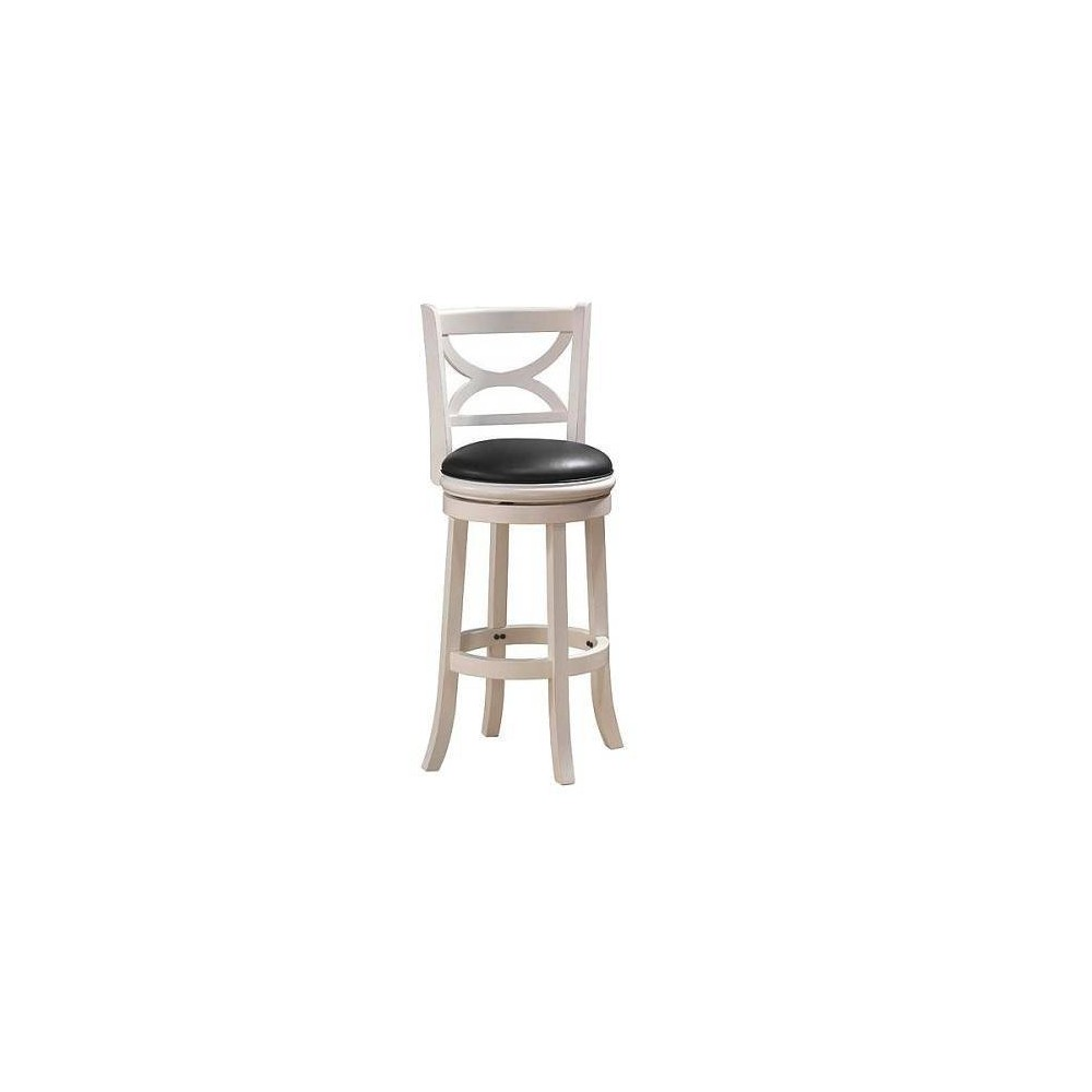 "Image of ""24"""" Florence Swivel Barstool Hardwood Distressed White - Boraam"""