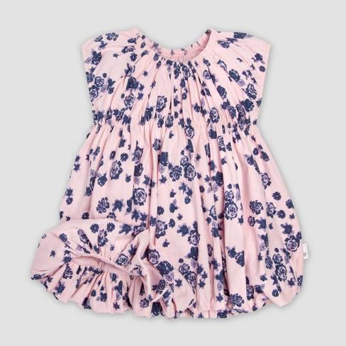 9907df601f52 Burt s Bees Baby® Baby Girls  Organic Cotton Floral Dress   Diaper Cover  Set - Indigo 24M   Target
