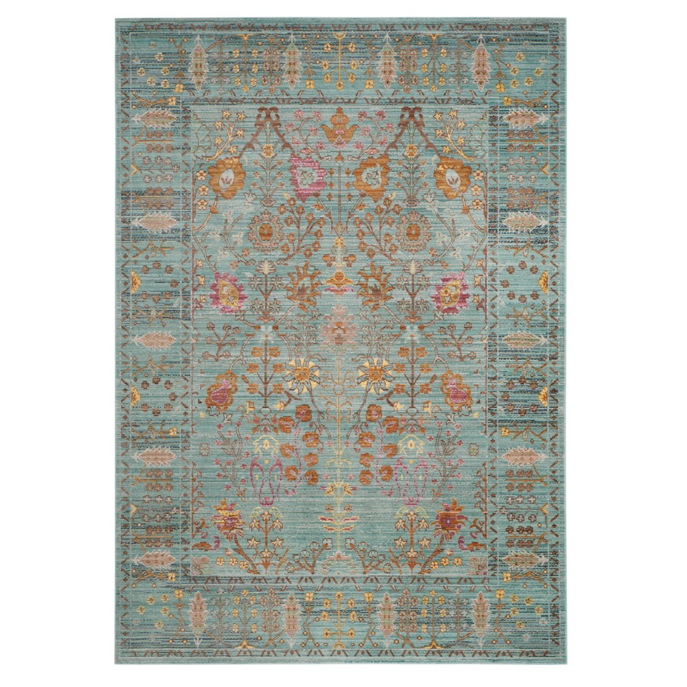 Steel Blue Floral Loomed Area Rug 6'X9' - Safavieh