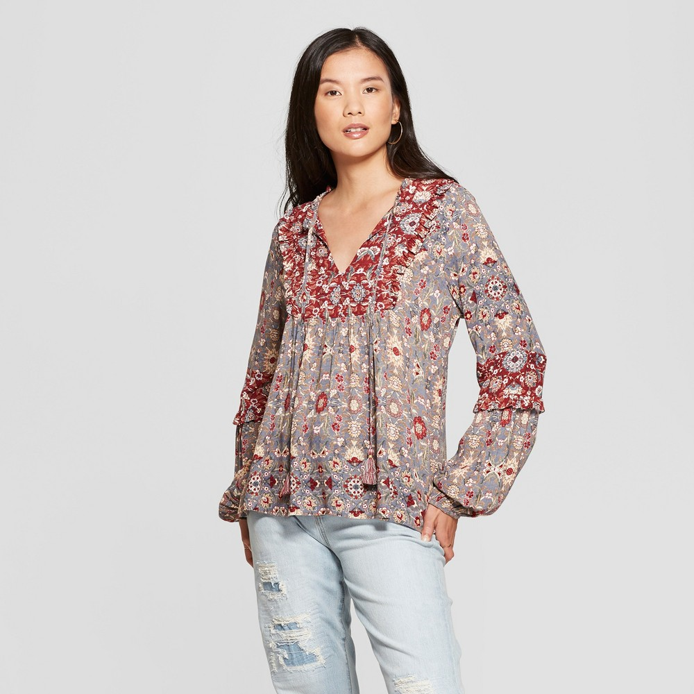 Women's Floral Print Long Sleeve Peasant Top - Knox Rose Gray XS