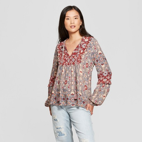 Women s Floral Print Long Sleeve Peasant Top - Knox Rose™ Gray   Target 6a27c266a