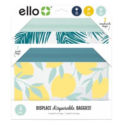 Ello 4pk Zip Food Storage Bags - Palm Leaves/Lemons