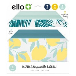 Ello 4pk Zip Food Storage Bags