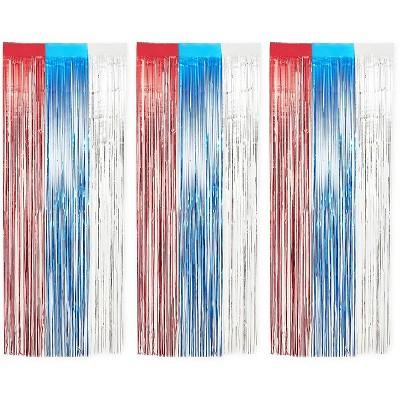 Blue Panda Metallic Tinsel Foil Fringe Wall Decor (3 Pack)