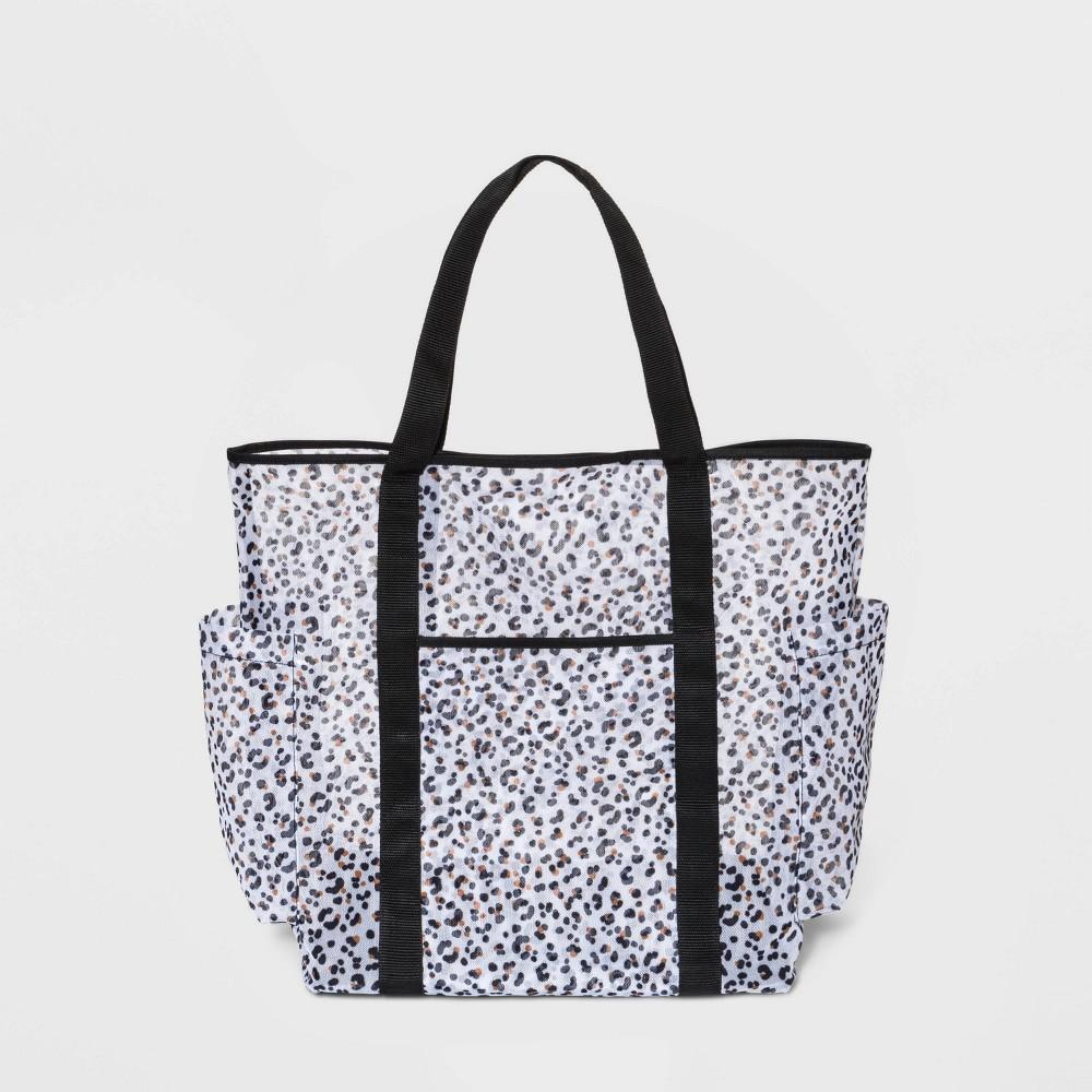Mesh Tote Handbag - Shade & Shore Black/Leopard Print