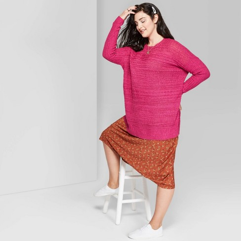 Women's Plus Size Long Sleeve Crewneck Tunic Sweater - Wild Fable™ Bright Magenta - image 1 of 3