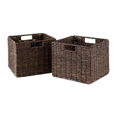 2pc Granville Foldable Small Corn Husk Baskets Chocolate - Winsome