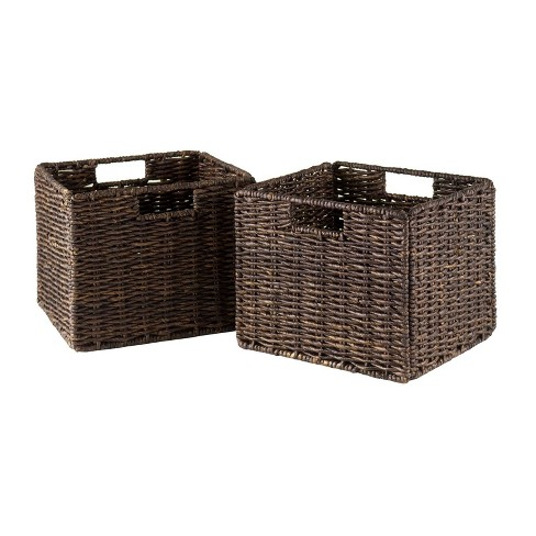2pc Granville Foldable Small Corn Husk Baskets Chocolate - Winsome - image 1 of 3