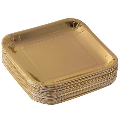 Juvale 48-Pack 7 in Gold Foil Square Disposable Paper Plates Party Supplies
