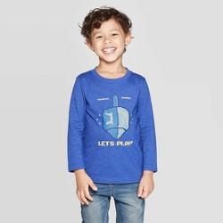 Toddler Boys' Long Sleeve Let's Play Dreidel Graphic T-Shirt - Cat & Jack™ Blue